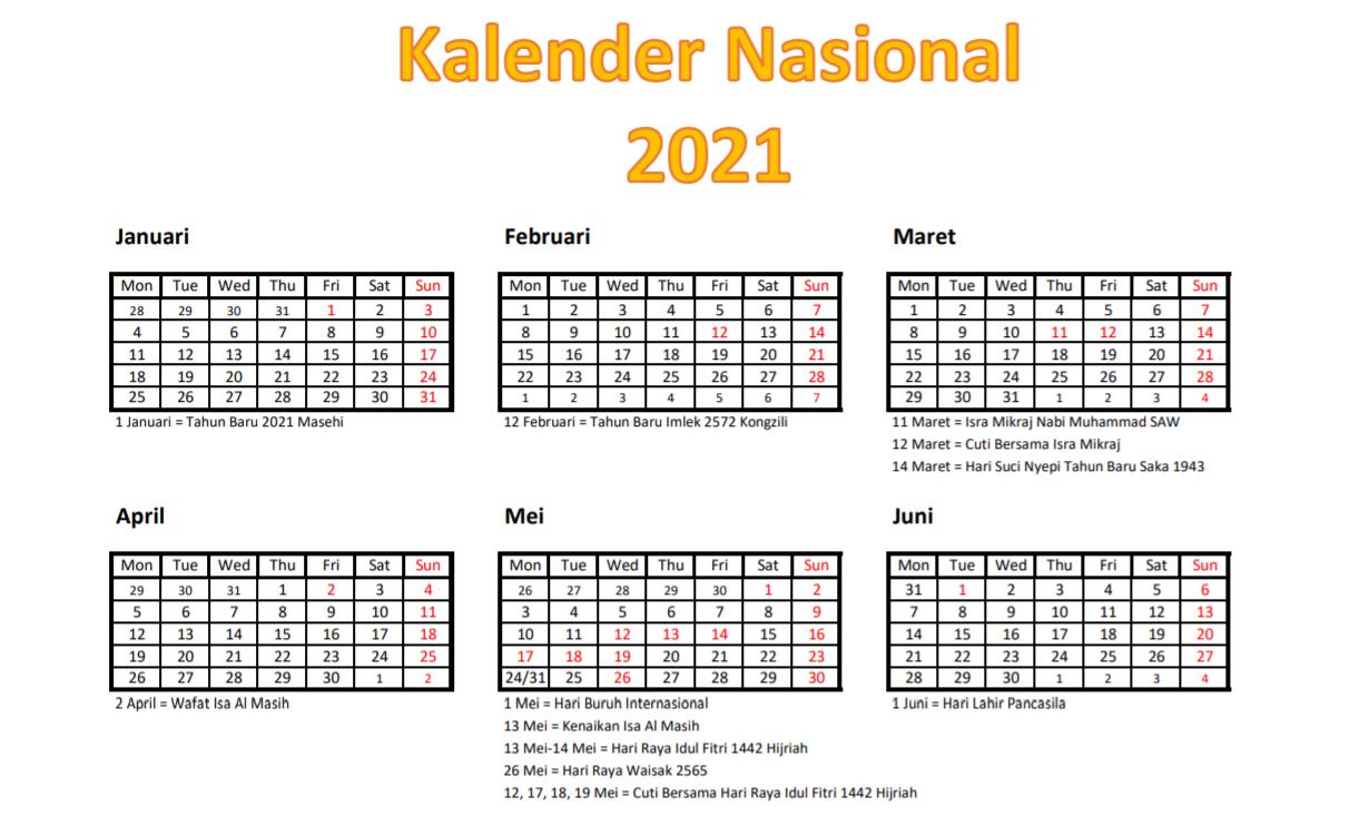 Hari Libur Nasional dan Cuti Bersama Tahun 2021 Berdasarkan Ketetapan Pemerintah